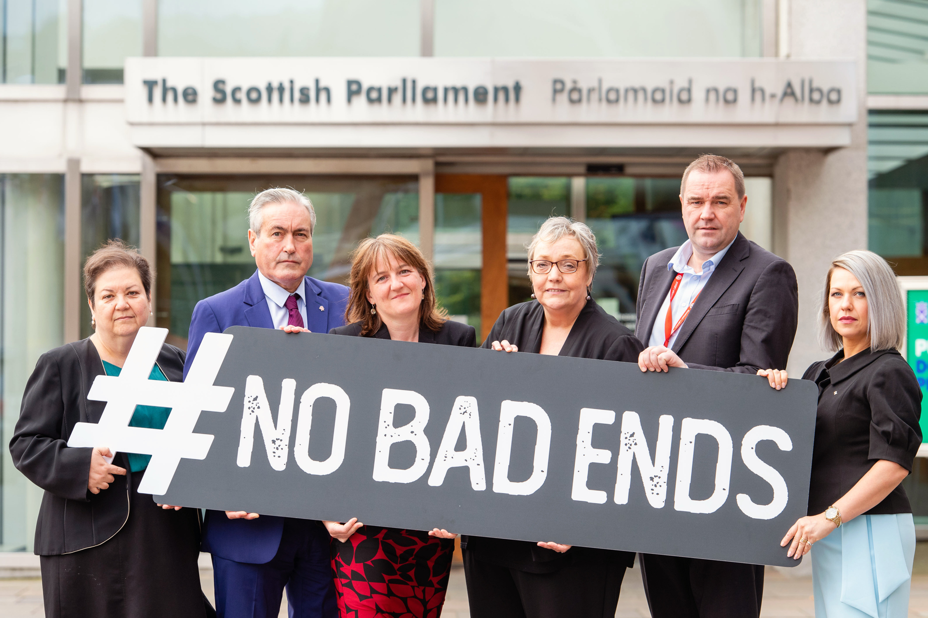 MSPs outside scottish parliament back Aberlour's new campaign
